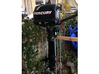 Mercury 4hp, 4 stroke, long shaft outboard in excellent condition