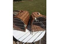 ANTIQUE WICKER CAT TRAVELLING BASKET / SMALL DOG (1left)