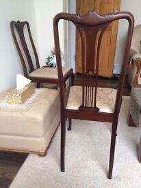 Edwardian ELEGANT antique dark wood chairs X 4