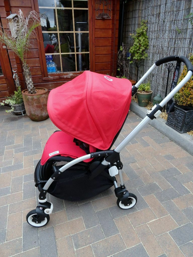 bugaboo bee stroller red immaculate with red seat liner rain cover full user instructions. Black Bedroom Furniture Sets. Home Design Ideas