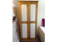 £199 - 2 door pine wardrobe, white panels - assembled, local delivery possible