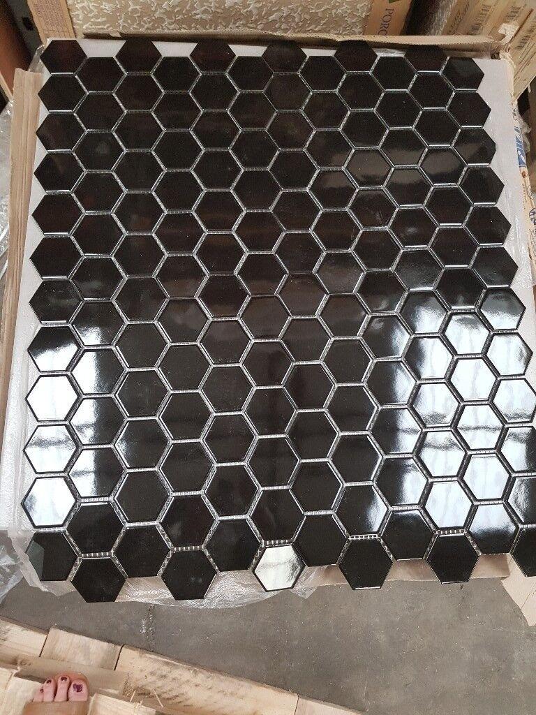 Black gloss hexagonal effect mosaic