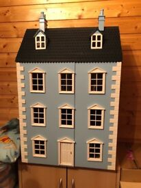 Large Blue Doll's House c/w furniture