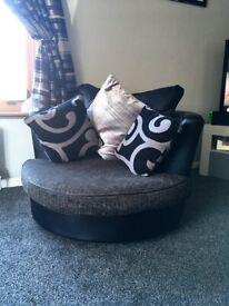 Swivel Chair Grey & Black