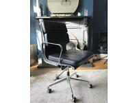 Eames style black leather office chair