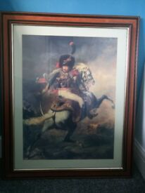 Large framed print titled 'Charging Chasseur' by Théodore Géricault