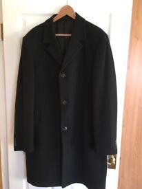 Men's full length black overcoat