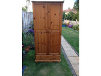 Solid pine wardrobe with bottom draw, and bedside cabinet,
