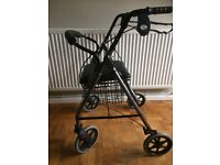 4 wheeled walker with basket