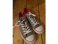 Grey and pink converse trainer size