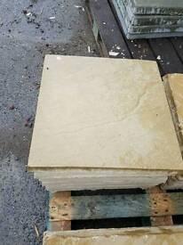 Buff 450x450x38 concrete Riven paving slabs