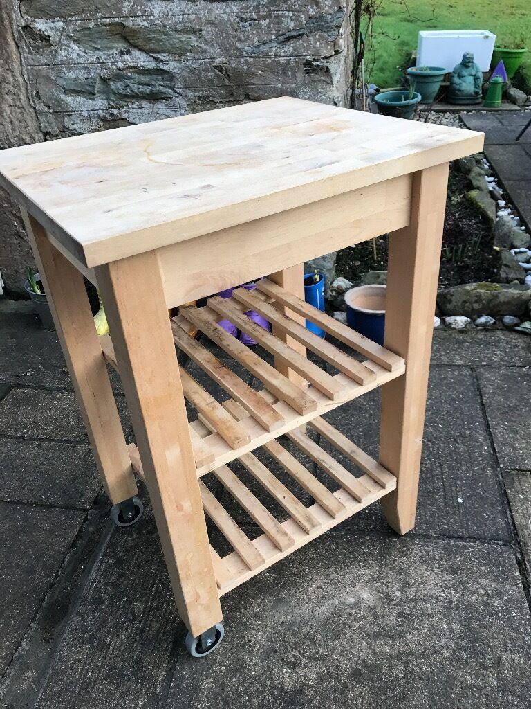 ikea kitchen birch wood butchers block free standing unit
