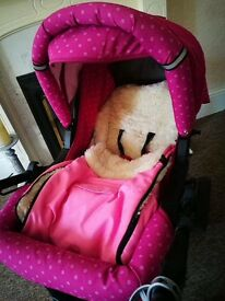Pink pram excellent condition with accessories