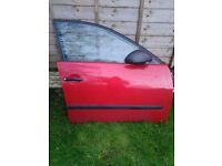 SEAT IBIZA OSF Front door MK3 6L IN RED 2003 - 2008 COMPLATE WITH WINDOW