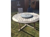 Ex Costco Royal Kensington round hardwood patio table with 6 recliner chairs