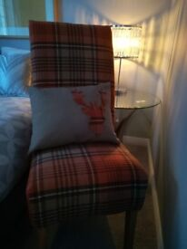 Newly Upholstered Standard Height Retro Tartan Fabric Dressing Table Chair With Stag Motif Cushion