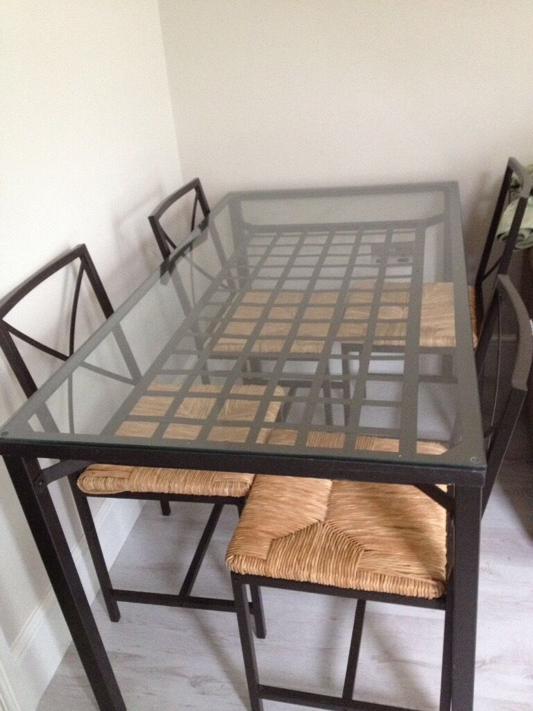 Ikea granas glass dining table and chairs great condition