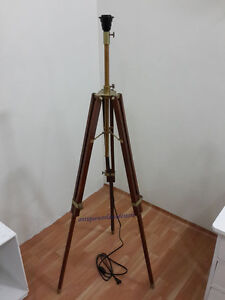 mid century modern brown tripod floor lamp with antique