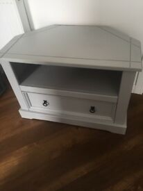 Grey Wood Corner TV Unit