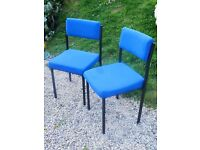 Pair of Visitor Chairs in Matching Blue