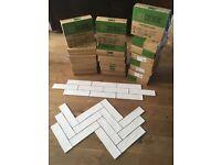 New White Gloss Ceramic LARGE Brick Wall Tiles 75x300mm - job lot (11.75m2)