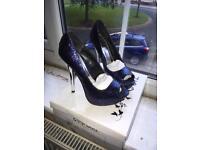 """Quiz navy glitter 5 peep toe platform 5"""" silver heel"""