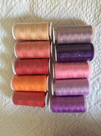 10 reels red/ purple sewing threads