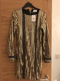 Brand new back and gold sequin boutique dress