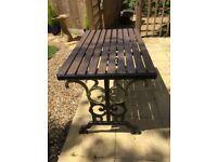 Cast Iron & Hardwood Garden Table