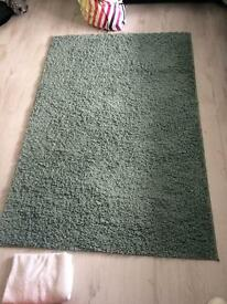 Teal rug, curtains, cushions and throw for sale