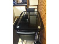 Immaculate Black Glass Dining Table with 4 Chairs