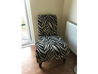 Black and Fawn Zebra effect accent chair