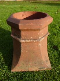 Antique Terracotta Octagonal Chimney Pot Rustic Garden Planter 17 inches tall
