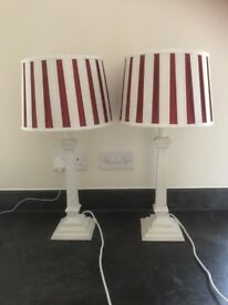 Laura Ashley Lamp Bases and Silk Shades - Ivory and Cranberry