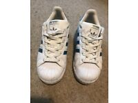 White and Turquoise Blue Adidas Shell Toes- Superstar trainers size 4Uk