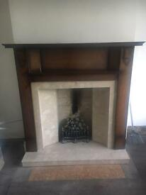 Antique dark wood fire surround