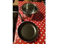 28cm Non-Stick Aluminium Frying Pan and 24cm Stainless Steel Stock Pot