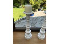 4 x White Candleholders