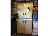 Vintage kitchen metal base unit and cupboard - 60 years old