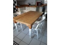 Pine table with painted legs & 4 painted pine chairs