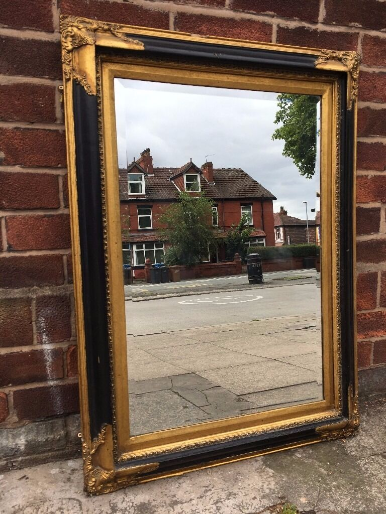 Large French Ornate Rococo Mirror Black Gold Vintage