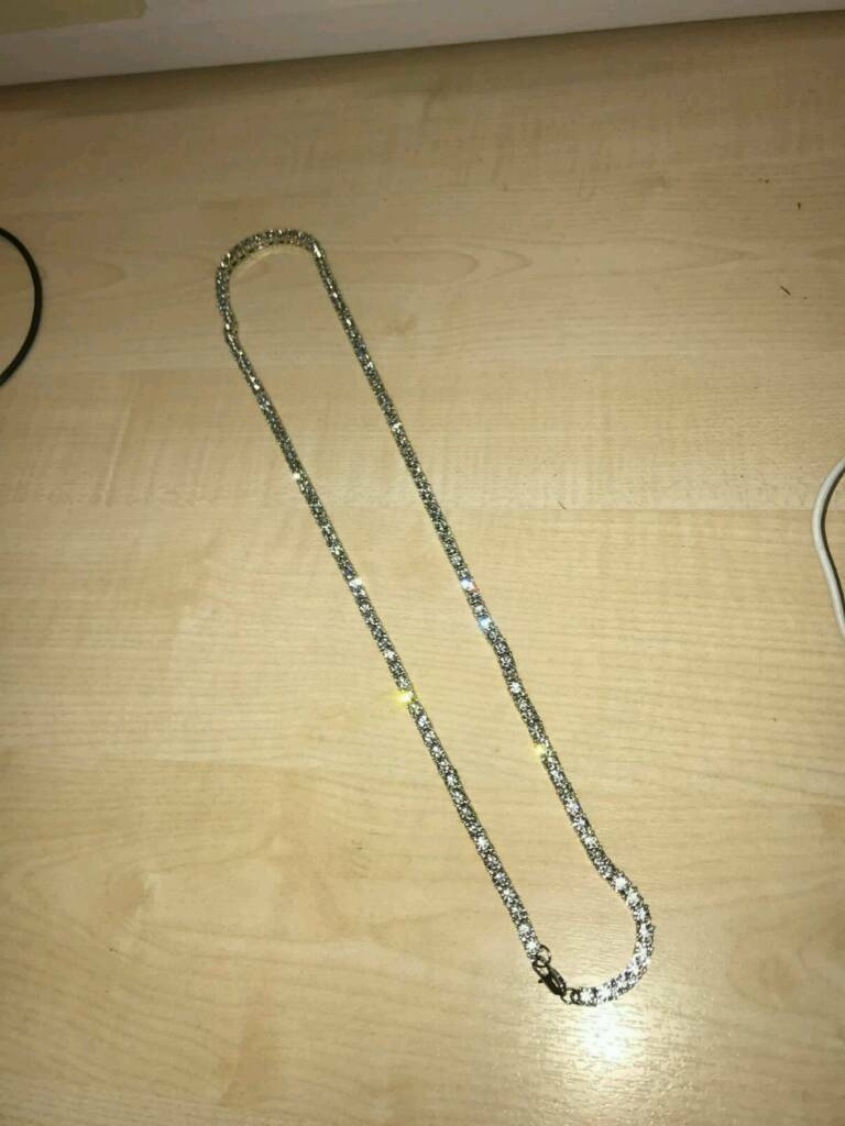 Brand new iced out 30 inch tennis chains in silver