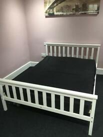 Double White Wooden Bed Frame