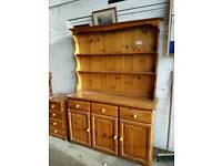 Pine welsh dresser with 3 drawers