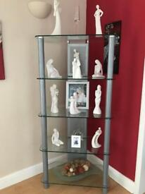 Solid glass and silver matching shelving units