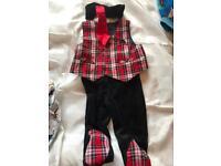 Waistcoat, leggings and tie, tartan 9 months