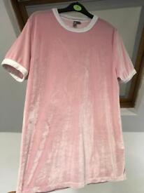 Pink velour asos t shirt