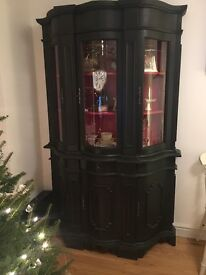 Beautigul Welsh Dresser with curved glass doors.