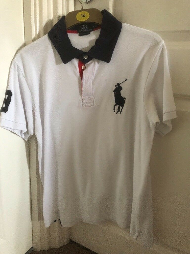 Ralph Lauren White Short Sleeve Polo Shirt Size Large Large Pony In