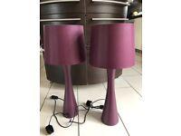 Set of 2 Bedside Lamps in Purple
